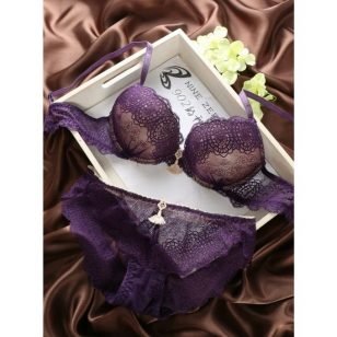 Purple Victoria Secret Push Up Bra Panty Lingerie Set