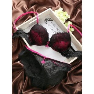 Pink Victoria Secret Push Up Bra Panty Lingerie Set