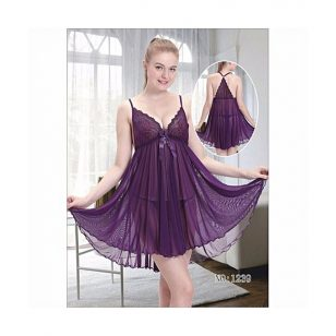 Purple Babydoll Lace Net Short Nighty Dress