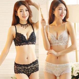 Black Bridal Lace Underwire Lingerie Bra Set