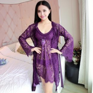 Purple Bridal Babydoll Nightwear For Women