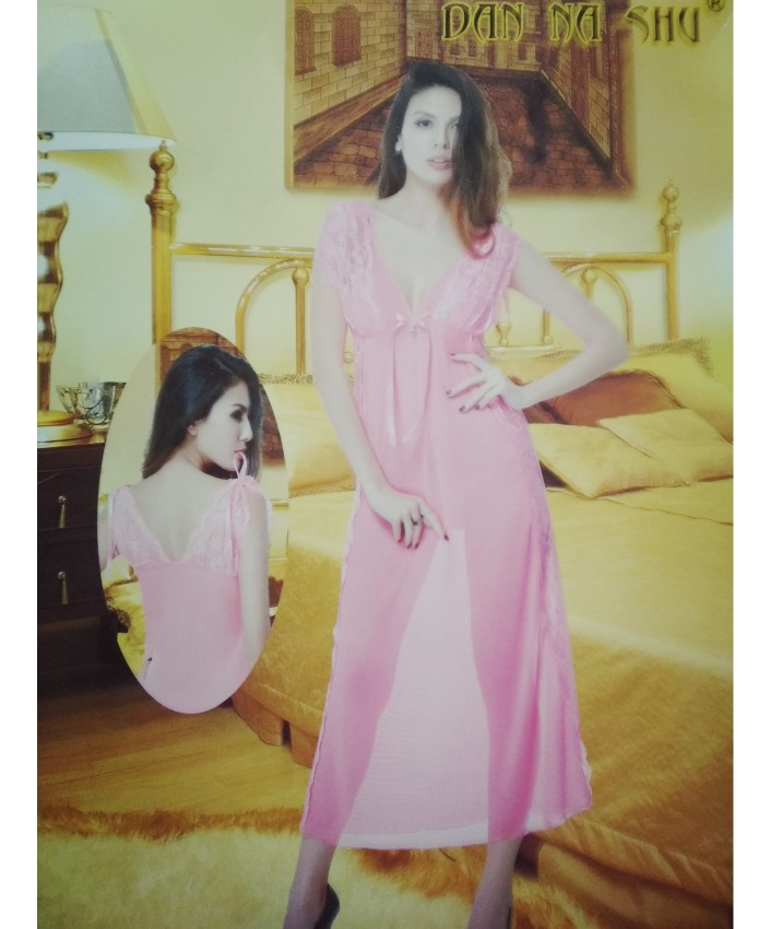 891a4598d1 See Through Pink Long Nighty Dress