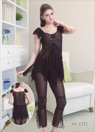 Lace Pajama Set Net Fancy Nightwear